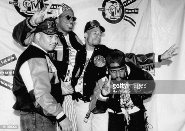 Rap group 2 Live Crew Chris Fresh KidIce Wongwon Luther Luke Skyywalker Campbell David Mister Mixx Hobbs and Mark Brother Marquis Ross posing...