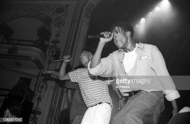 Rap group Leaders Of The New School and Busta Rhymes perform at The Beacon Theater on July 5 1992 in New York City
