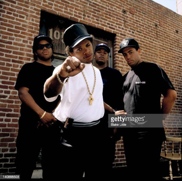 Rap group NWA is photographed in 1990 in Los Angeles California