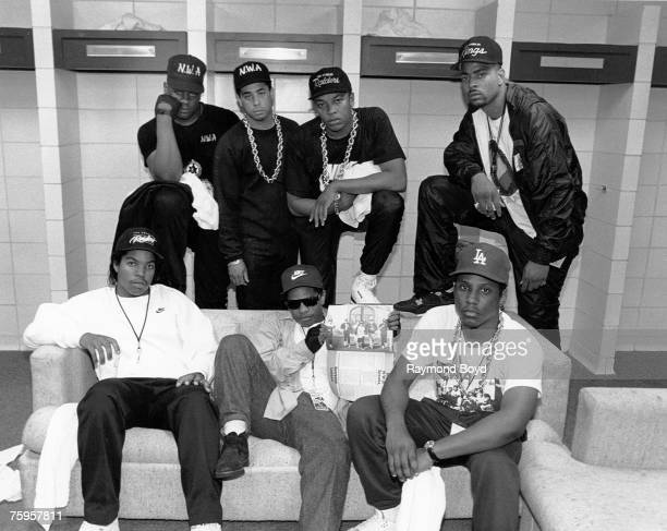 Rap group NWA pose with rappers The DOC and Laylaw from Above The Law backstage at the Kemper Arena during their 'Straight Outta Compton' tour in...