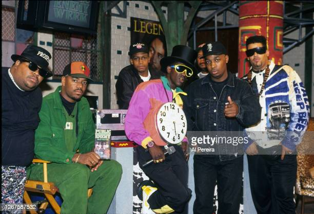 """Rap group Public Enemy appears on the """"Public Enemy Week"""" segment of """"Yo! MTV Raps"""" with hosts Doctor Dre' and Ed Lover on September 19, 1991 in New..."""