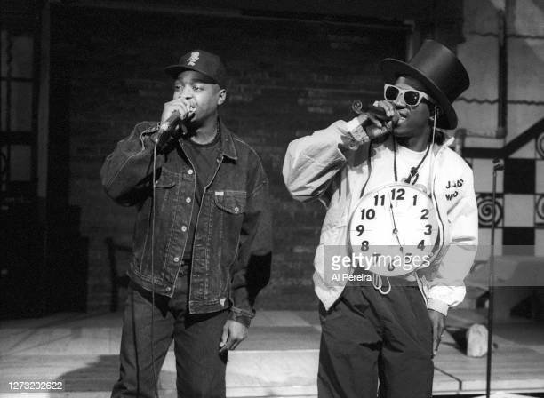 "Rap group Public Enemy (Flavor Flav ; Chuck D appears on the ""Public Enemy Week"" segment of ""Yo! MTV Raps"" on September 19, 1991 in New York City."