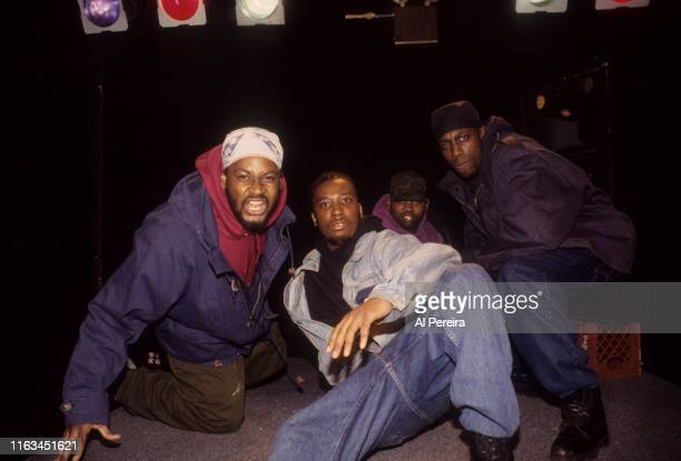 Rap Group The WuTang Clan pose on February 1 1993 at Tilt in New York City New York