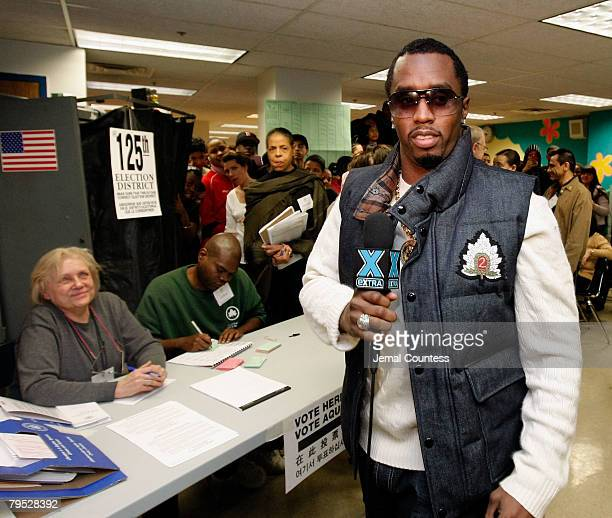 ACCESS*** Rap Mogul Sean Diddy Combs visits a New York polling station at Coalition High School as part of his get out the vote program on February 5...