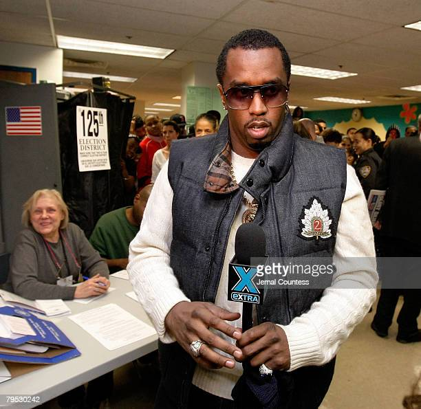 NEW YORK FEBRUARY 05 *EXCLUSIVE COVERAGE* Rap Mogul Sean Diddy Combs visits a New York polling station at Coalition High School to urge all New...