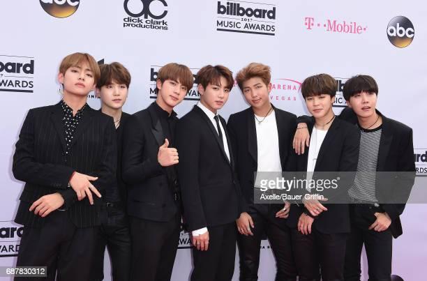 Rap Monster Jin Suga JHope V Jimin and Jungkook of music group BTS aka Bangtan Boys arrive at the 2017 Billboard Music Awards at TMobile Arena on May...