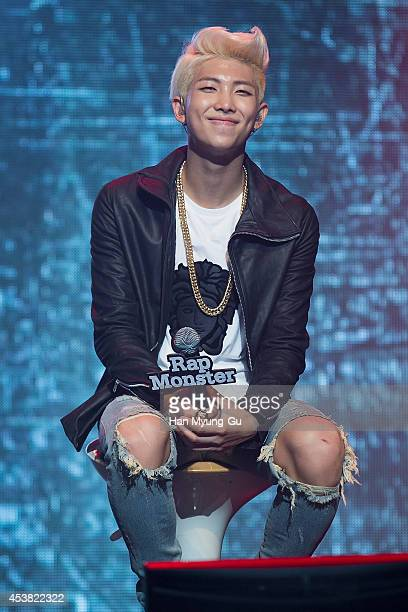 """Rap Monster of BTS attends the BTS 1st Album """"Dark And Wild"""" Show Case"""" at the Samsung Card Hall on August 19, 2014 in Seoul, South Korea."""