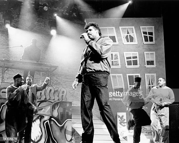Rap pioneers the Sugar Hill Gang perform live at the Apollo in 1990 in Harlem New York City New York Photo by