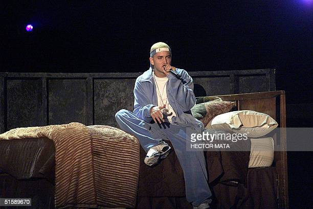 Rap singer Eminem performs on stage at the 43rd Grammy Awards at the Staples Center in Los Angeles 21 February 2001 AFP PHOTO Hector MATA