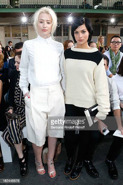 Rap singer Iggy Azalea and Leigh Lezark attend Chloe show as part of the Paris Fashion Week Womenswear Spring/Summer 2014 held at Lycee Carnot on...