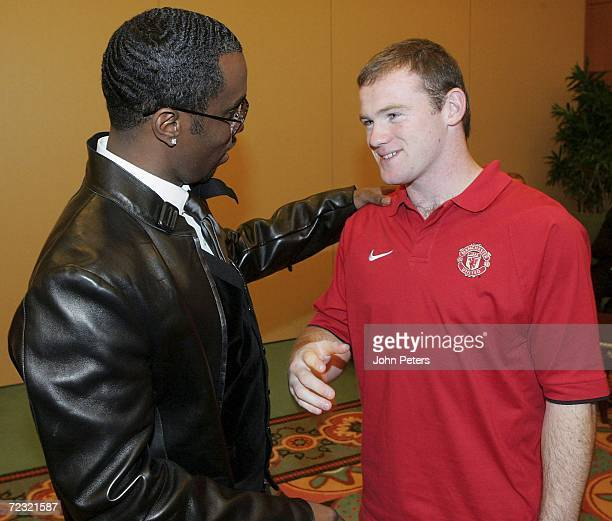 Rap star and Manchester United fan Sean P DiddyCombs takes time out ahead of his appearance at the MTV European Music Awards to meet the Manchester...