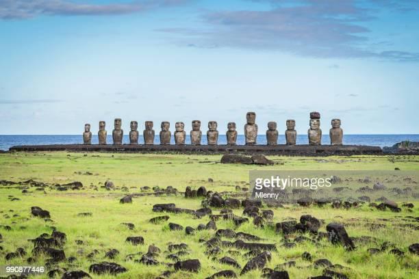 rapa nui ahu tongariki moai statues easter island chile - valparaiso chile stock pictures, royalty-free photos & images