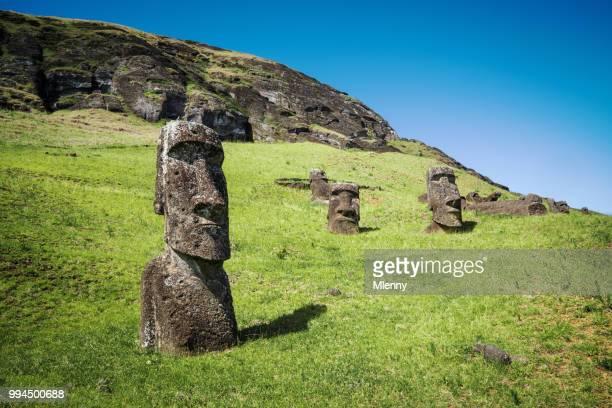 Rapa Nui Rano Raraku Moai beelden Paaseiland Chili