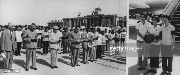 Rapatriement à Pékin des cendres du chinois assassiné en Birmanie en présence de Zhou Enlai et des dignitaires le 6 juillet 1967 à Pékin Chine
