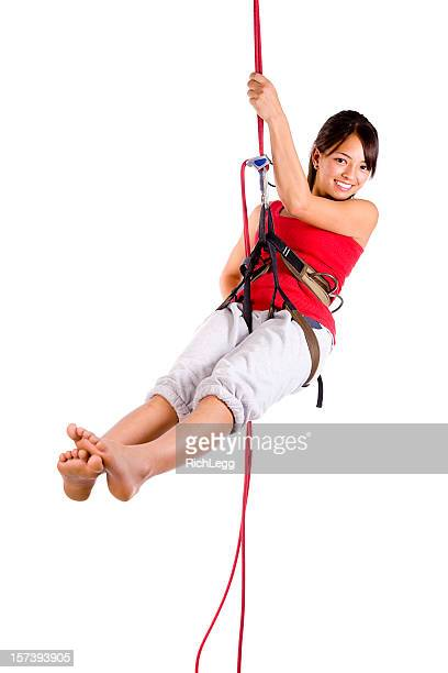 rapelling climber - pretty asian feet stock photos and pictures