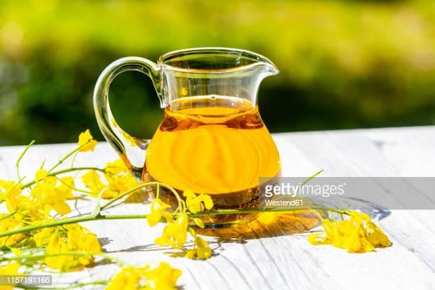 rapeseed oil in jar with rape blossom on wood - brassica napus l - fotografias e filmes do acervo