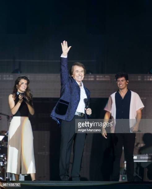 Raphael and Alfred Garcia perform during 'Operacion Triunfo' concert in Santiago Bernabeu stadium on June 29 2018 in Madrid Spain