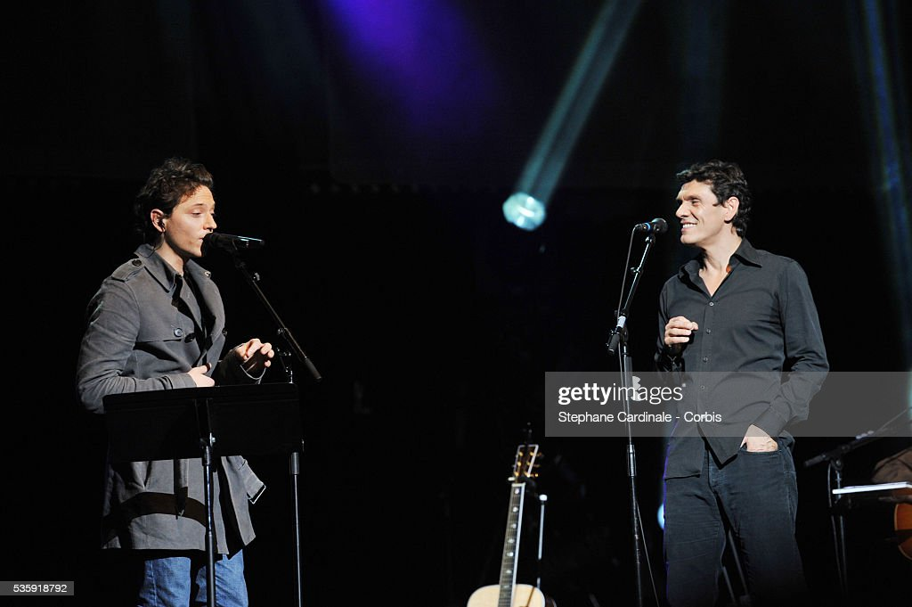 Raphael and Marc Lavoine perform live during the celebration of Prix Constantin 2010 at L'Olympia, in Paris