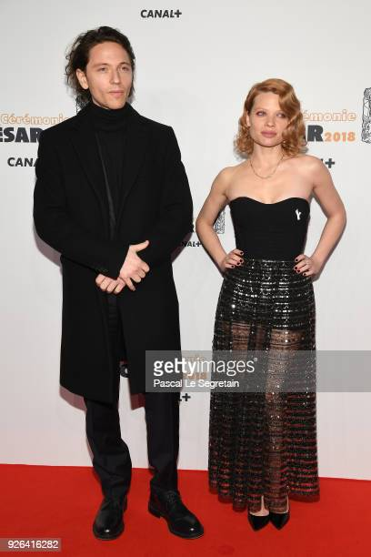 Raphael and Melanie Thierry arrive at the Cesar Film Awards 2018 at Salle Pleyel on March 2, 2018 in Paris, France.