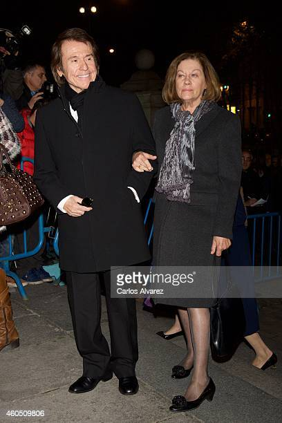Raphael and Natalia Figueroa attend a Funeral Service for Duchess of Alba at the Real Basilica de San Francisco el Grande on December 15 2014 in...
