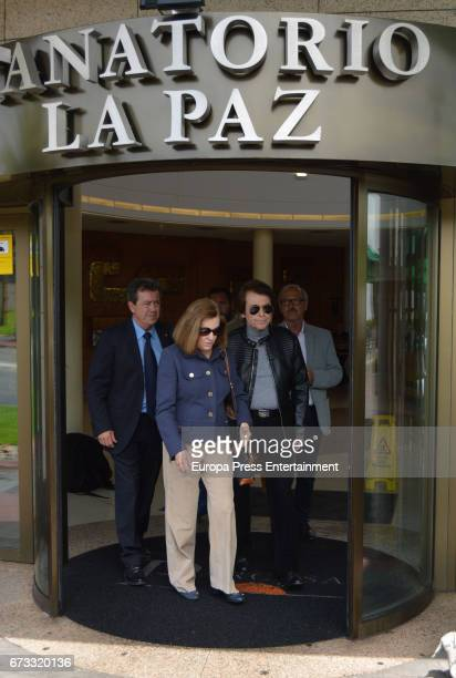 Raphael and Natalia Figueroa attend the funeral chapel for the Sebastian Palomo Linares on April 25 2017 in Madrid Spain