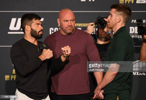 Raphael Assuncao of Brazil and Cory Sandhagen face off during the UFC 241 Ultimate Media Day at the Hilton Anaheim hotel on August 15 2019 in Anaheim...