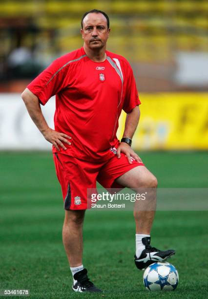 Raphael Benitez the Liverpool coach looks on during training at the Stade Louis II on August 25 2005 in Monte Carlo Monaco