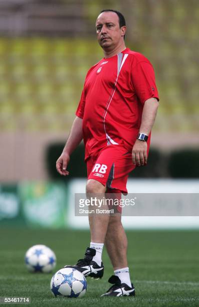 Raphael Benitez the Liverpool coach looks on during training at the Stade Louis II on August 25, 2005 in Monte Carlo, Monaco.