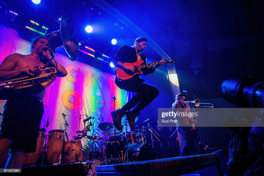 Raphael Buyo, Boris Pelekh and Josh Holcomb of Lucky Chops perform at Neptune Theatre on February 20, 2018 in Seattle, Washington.