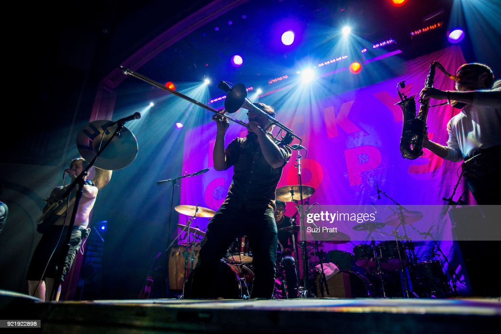 Raphael Buyo, Josh Holcomb and Daro Behroozi of Lucky Chops performs at Neptune Theatre on February 20, 2018 in Seattle, Washington.