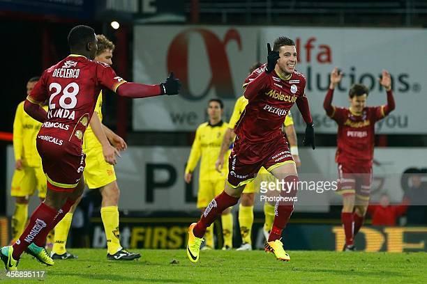 Raphael Caceres of Zulte Waregem celebrating his second goal during the Jupiler Pro League match between Zulte Waregem and Lierse SK on December 15...