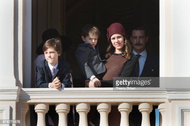 Raphael Casiraghi and Carlotte Casiraghi greet the crowd from the palace's balcony duringon November 19 2017 in Monaco Monaco