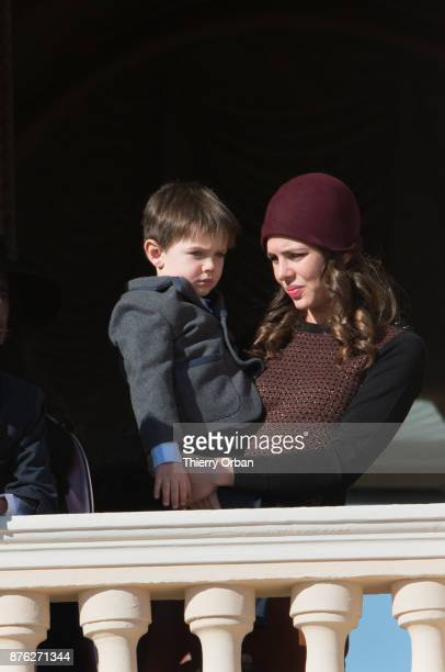 Raphael Casiraghi and Charlotte Casiraghi greet the crowd from the palace's balcony during the Monaco National Day Celebrations on November 19 2017...