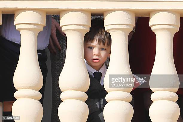 Raphael Casiraghi appears on the balcony of the Monaco Palace during the celebrations marking Monaco's National Day on November 19 2016 in Monaco /...