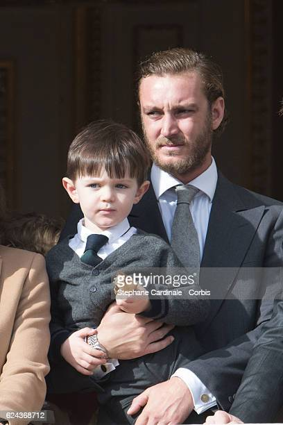 Raphael Casiraghi Elmaleh and Pierre Casiraghi greet the crowd from the palace's balcony during the Monaco National Day Celebrations on November 19...