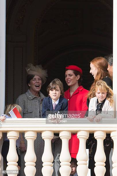 Raphael Casiraghi Princess Caroline of Hanover and Charlotte Casiraghi greet the crowd from the palace's balcony during the Monaco National Day...