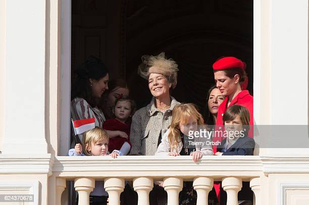 Raphael CasiraghiPrincess Caroline of Hanover and Charlotte Casiraghi greet the crowd from the palace's balcony during the Monaco National Day...