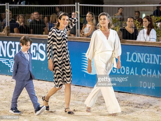 Raphael Elmaleh, Charlotte Casiraghi and Princess Caroline of Hanover attend the Grand Prix du Prince during the 15th international Monte-Carlo...