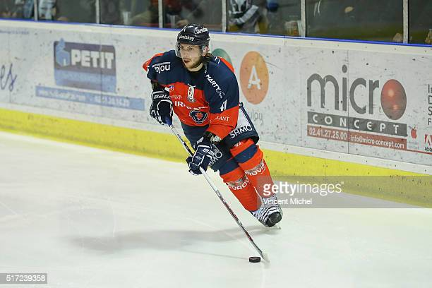 Raphael Faure of Angers during the Ice hockey Ligue Magnus Final second game between Les Ducs d'Angers v Les Dragons de Rouen on March 23 2016 in...