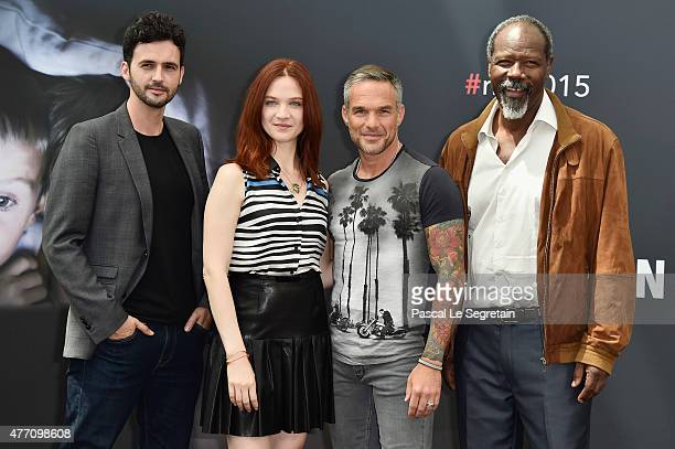 Raphael Ferret Odile Vuillemin Philippe Bas and JeanMichel Martial pose at a photocall for the TV series 'PROFILAGE' during the 55th Monte Carlo TV...