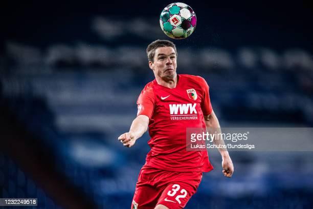 Raphael Framberger of Augsburg in action during the Bundesliga match between FC Schalke 04 and FC Augsburg at Veltins-Arena on April 11, 2021 in...