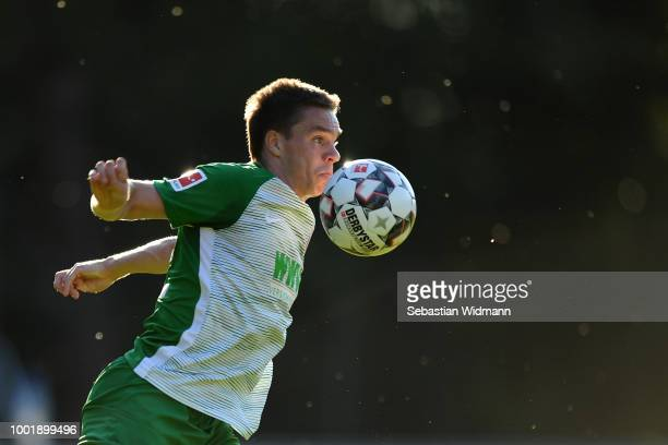Raphael Framberger of Augsburg plays the ball during the preseason friendly match between SC Olching and FC Augsburg on July 19 2018 in Olching...