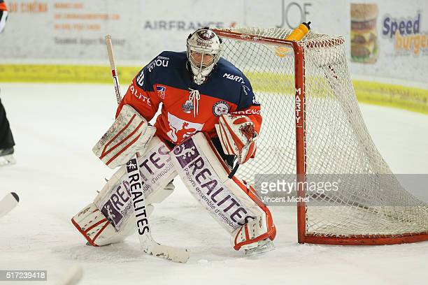 Raphael Girard of Angers during the Ice hockey Ligue Magnus Final second game between Les Ducs d'Angers v Les Dragons de Rouen on March 23 2016 in...