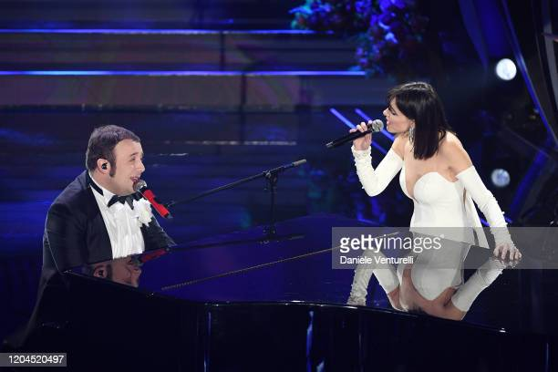 Raphael Gualazzi and Simona Molinari attend the 70° Festival di Sanremo at Teatro Ariston on February 06 2020 in Sanremo Italy