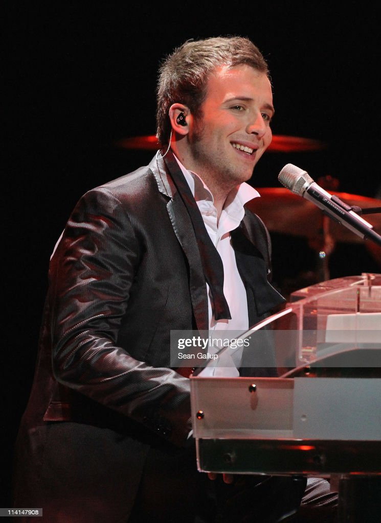 Raphael Gualazzi of Italy performs during the dress rehearsal ahead of the finals of the 2011 Eurovision Song Contest on May 13, 2011 in Duesseldorf, Germany.