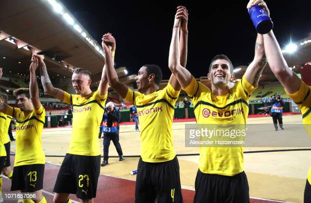 Raphael Guerreiro Marius Wolf Abdou Diallo and Christian Pulisic of Borussia Dortmund celebrate after the UEFA Champions League Group A match between...
