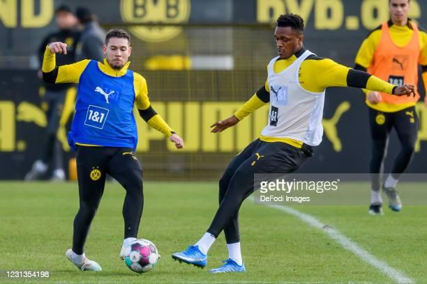 Raphael Guerreiro of Borussia Dortmund and Dan-axel Zagadou of Borussia Dortmund battle for the ball during the Borussia Dortmund training session on...
