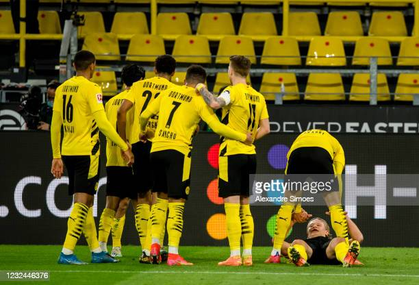 Raphael Guerreiro of Borussia Dortmund celebrates after scoring his goal to the 2:0 during the Bundesliga match between Borussia Dortmund and 1. FC...