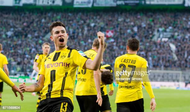 Raphael Guerreiro of Borussia Dortmund celebrates after scoring the winning goal to the 23 during the Bundesliga match between Borussia...
