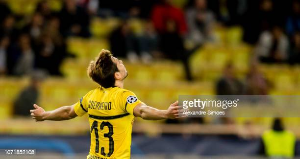Raphael Guerreiro of Borussia Dortmund celebrates scoring the winning goal to the 02 during the UEFA Champions League Group A match between AS Monaco...